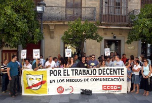 Concentración de periodistas en Jerez